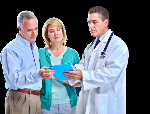 Pharmacist and a senior couple in pharmacy