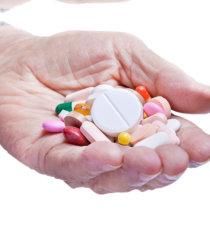 different medicines on hand